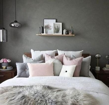pink white and grey bedroom details