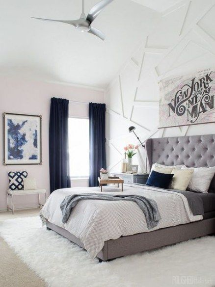 white blue and grey in bedroom