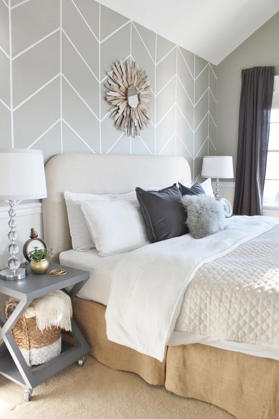 white and grey bedroom idea