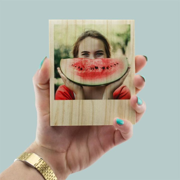 polaroid photo in wood