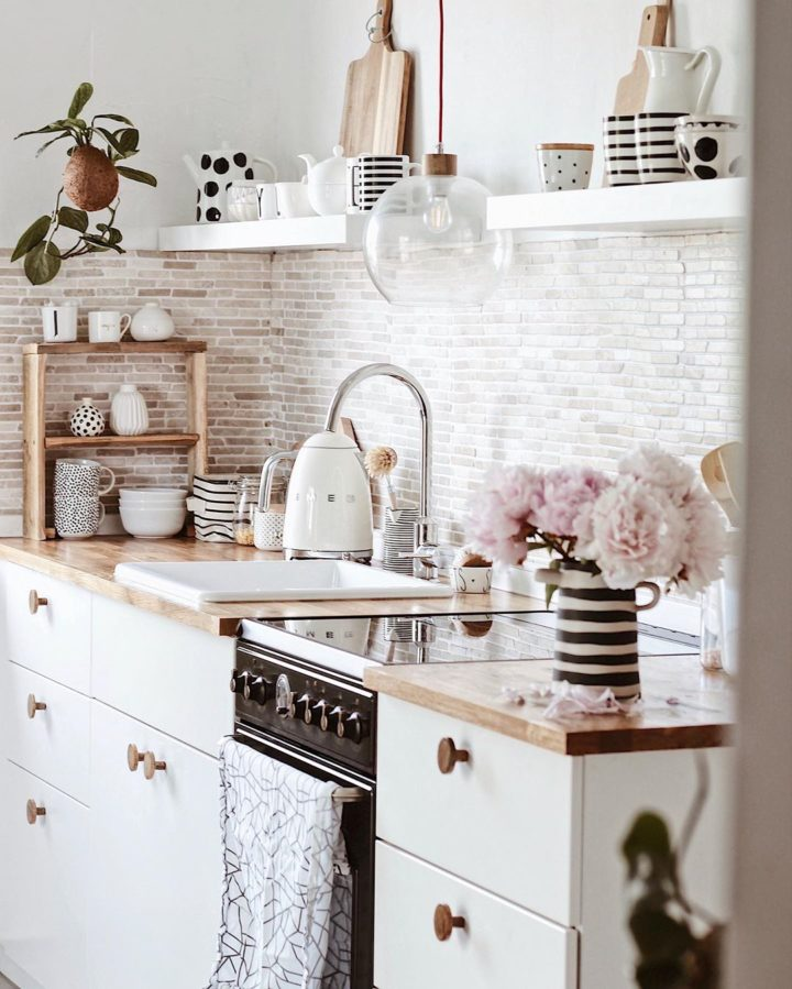 white country kitchen with cabinets