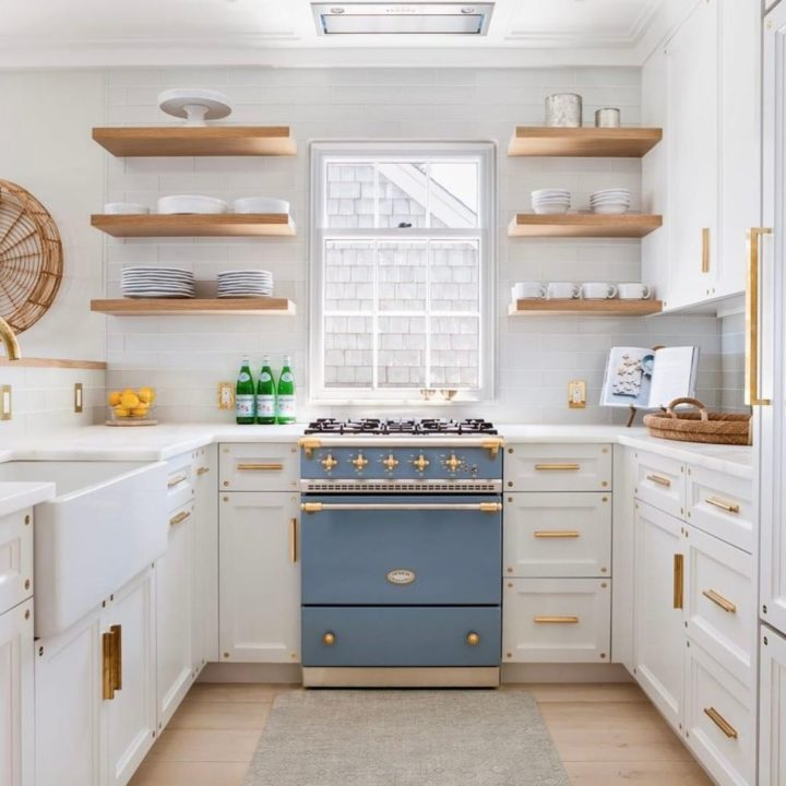 white country kitchen with blue cook