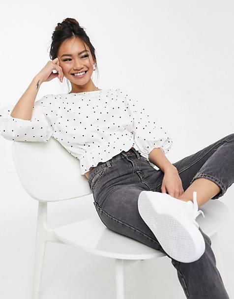a polka dot blouse