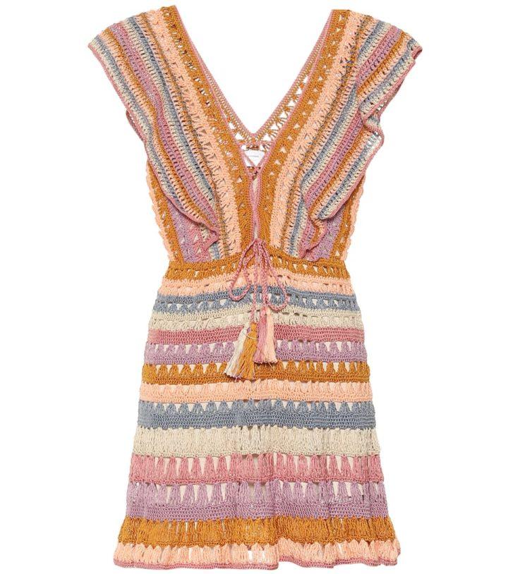 crochet dress in pastel colors