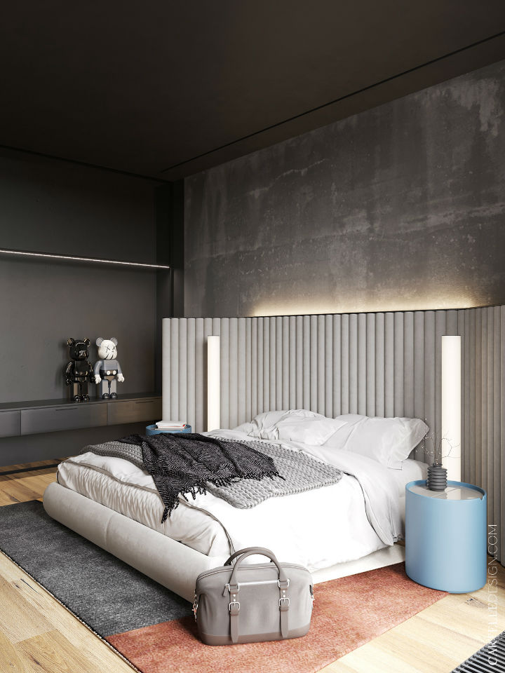 cement grey bedroom with a double bed