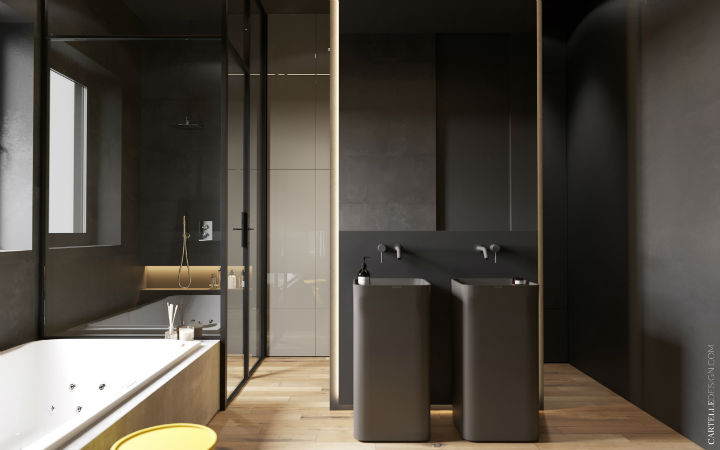 drak grey bathroom with glass details