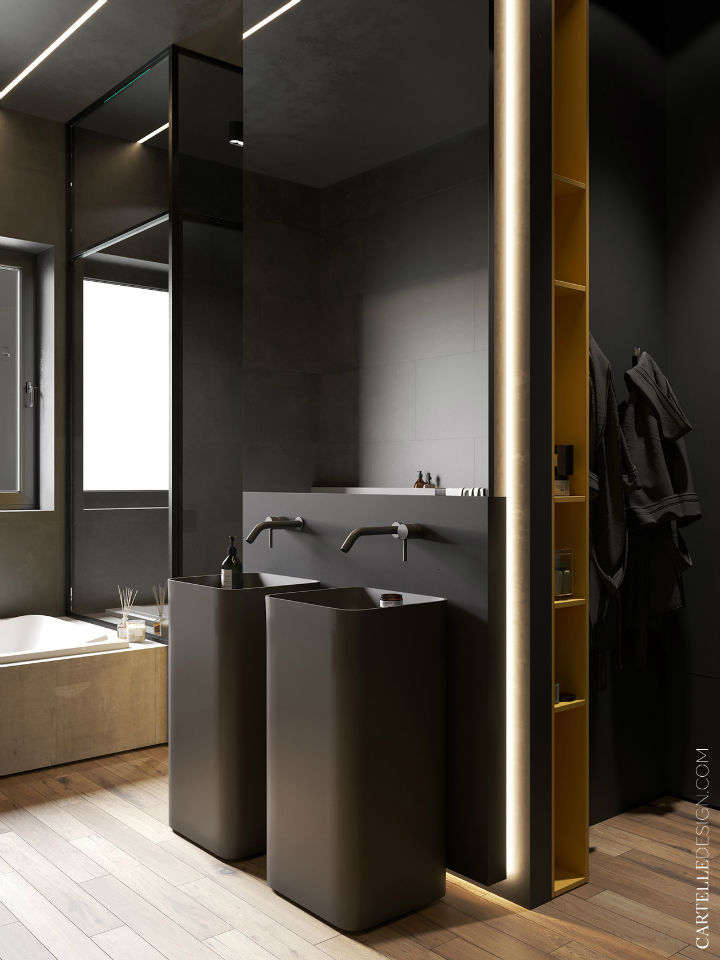 dark grey bathroom vanities