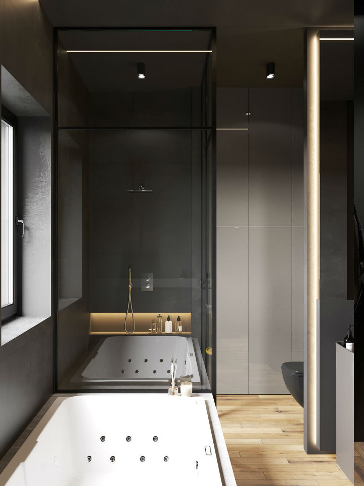 walk in bathroom with modern touches