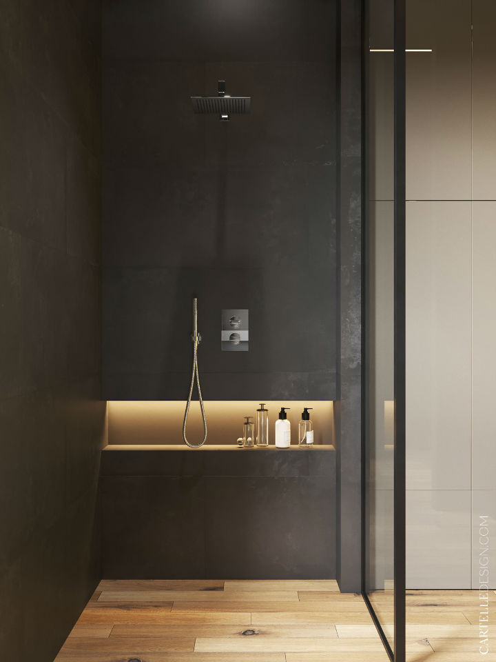 dark grey modern shower