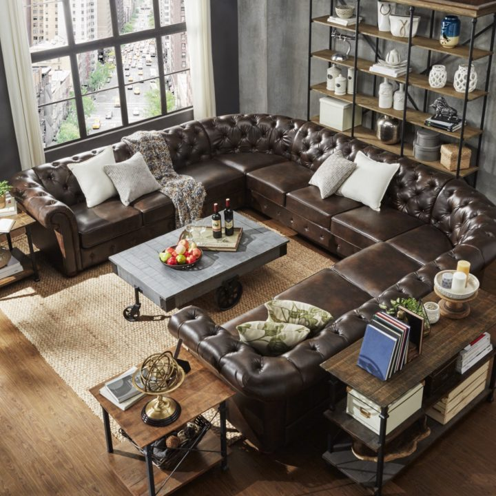 huge circular brown sofa