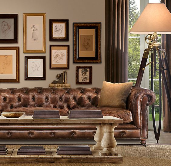 brown furniture and curtains