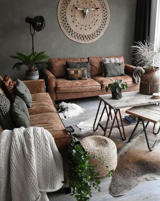 brown living room decor with grey walls