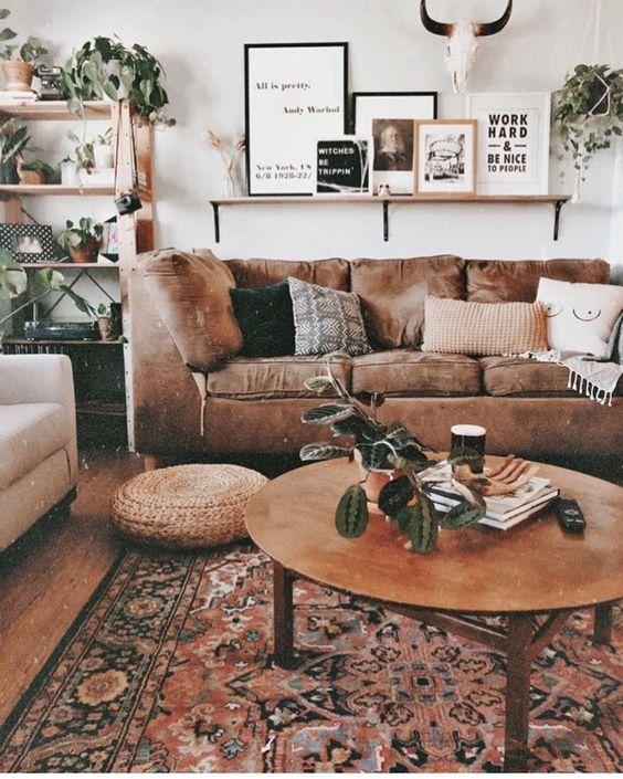 shades of brown in living room
