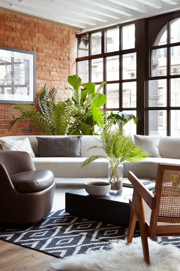 mix style with big windows and sofas