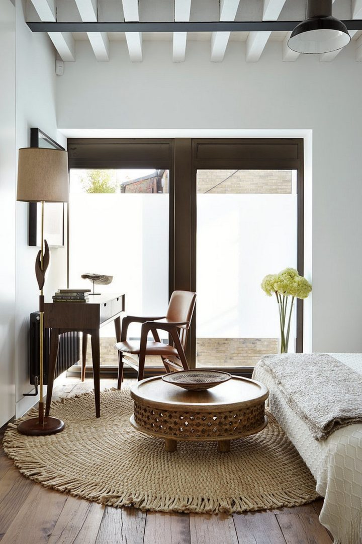 white and brown interior with mix style