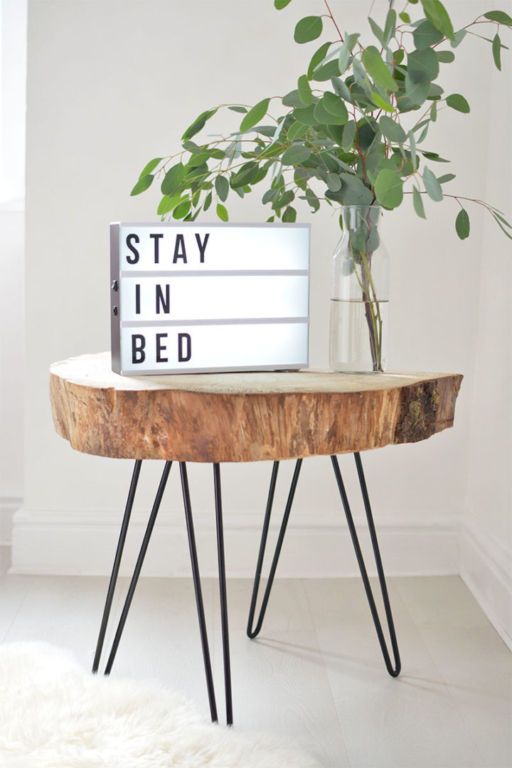 wooden table with DIY lightbox letters