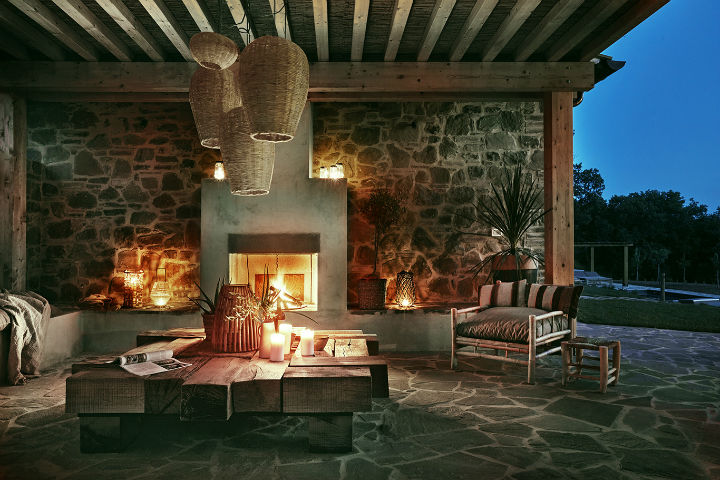 home in italy with outdoor fireplace