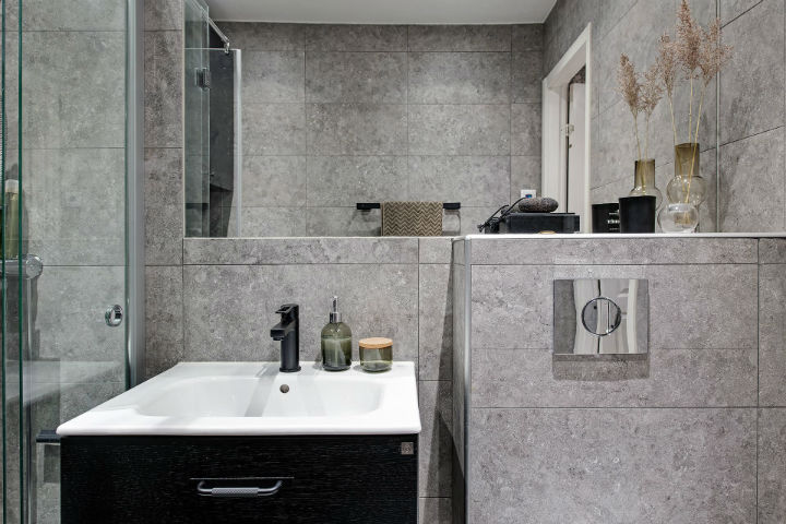 grey tiles in bathroom