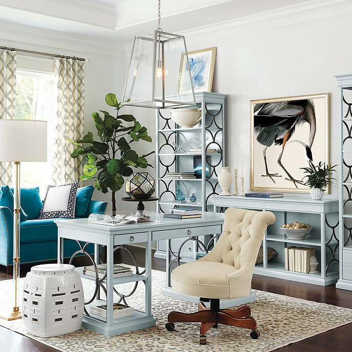 light blue colors in home office