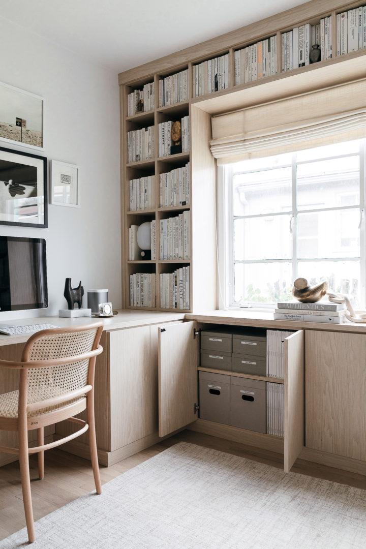 built-in bookshelves and desk