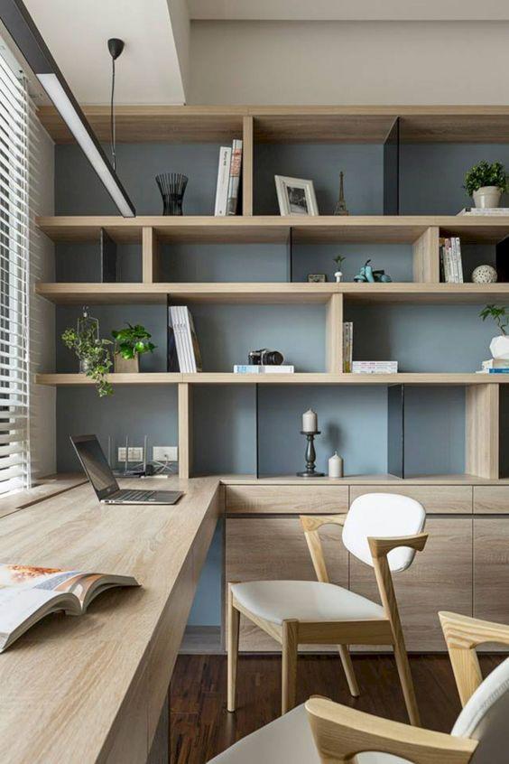 bookshelves in home office decor