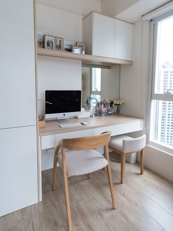 white organized home office