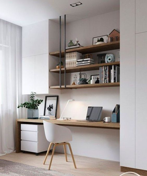 white home office with open shelves