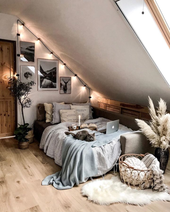 cozy bedroom with cute lights
