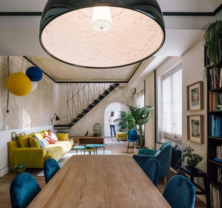 unique italian apartment with coloful decor