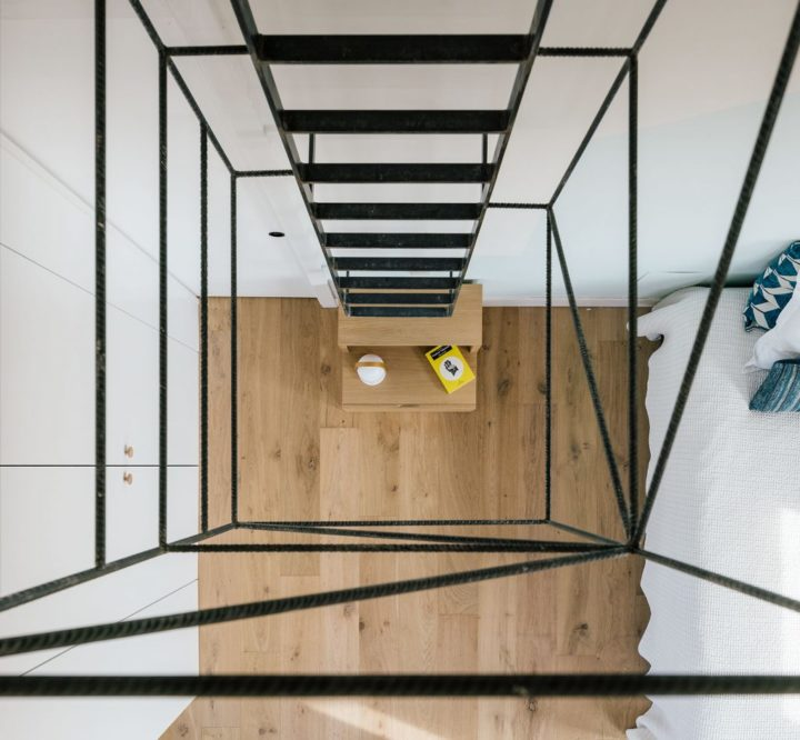 flatlay photo of unique apartment with indoor ladder
