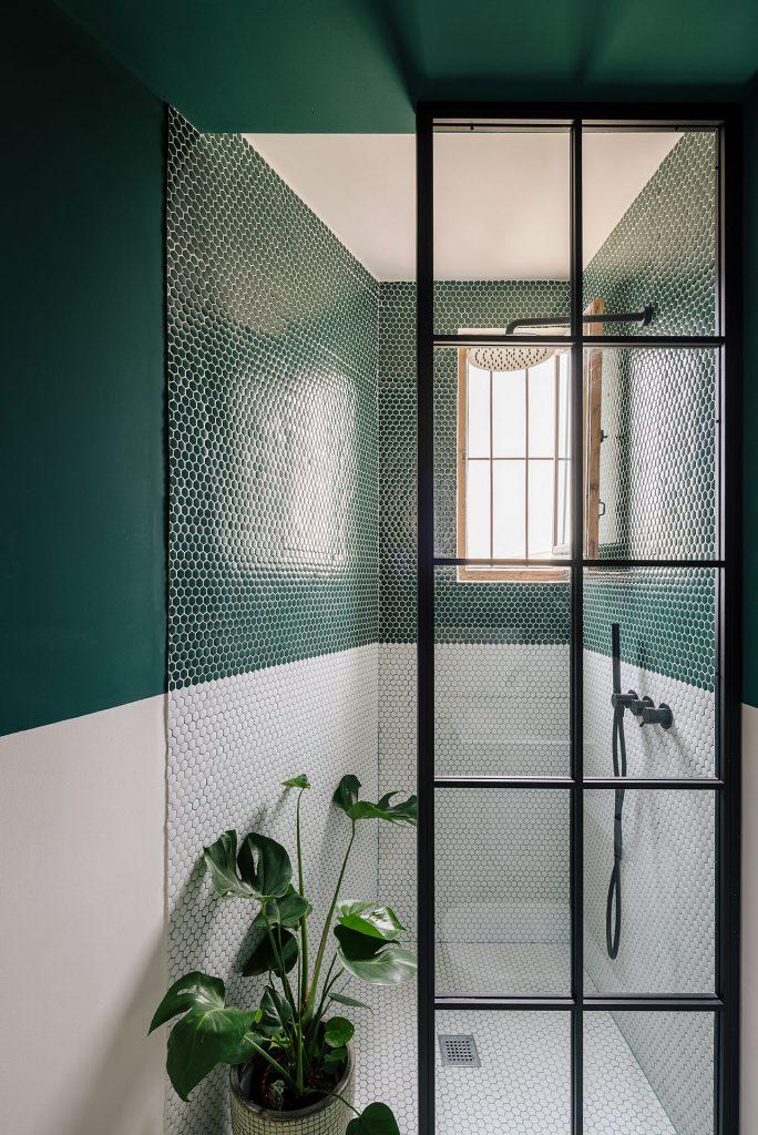 hexagonal little tiles in unique apartment