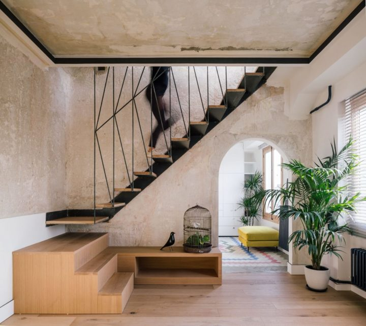 stairs with wood and metal