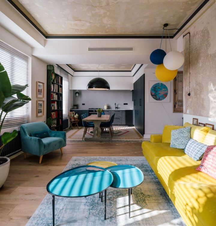 yellow and blue elements in living room
