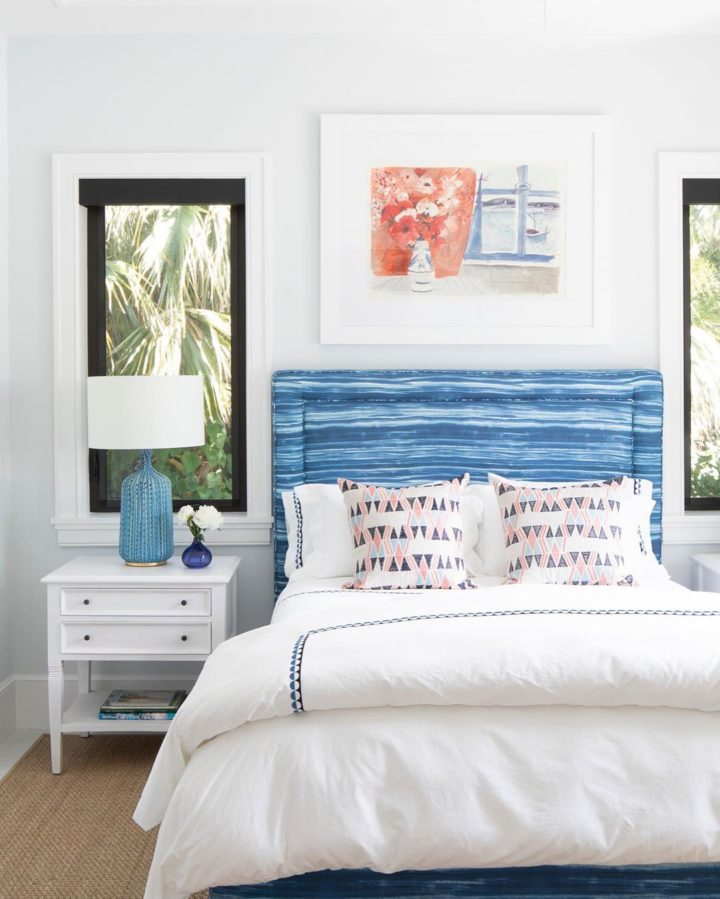 coastal modern home interior with blue and white shades