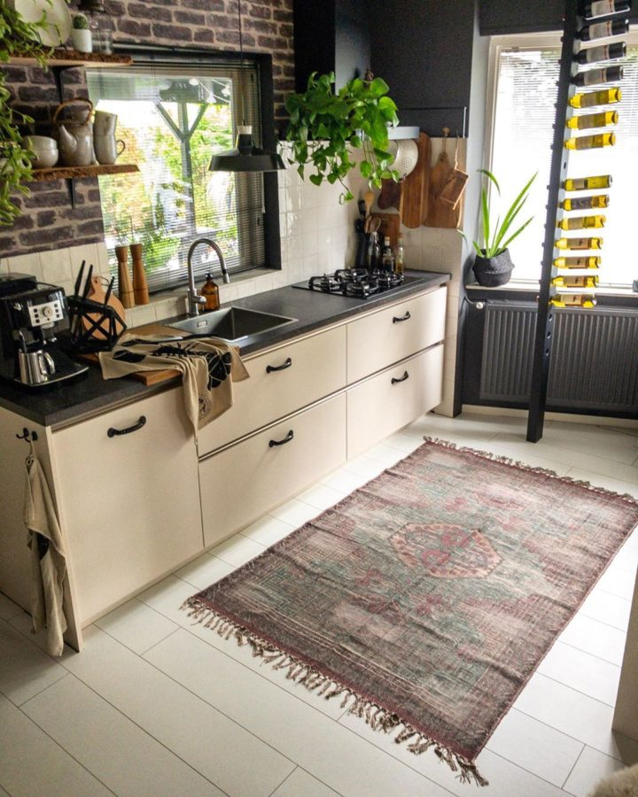 cream kitchen with brick wall to match your taste