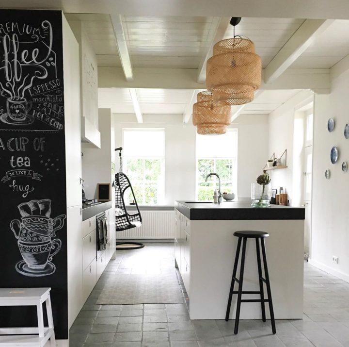 white modern kitchen with black worktop to match your taste