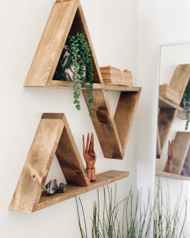 triangle wood shelves
