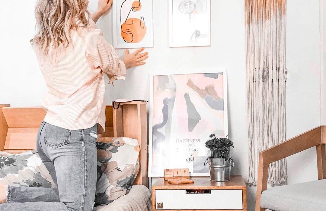 boho chic bedroom wall decor idea