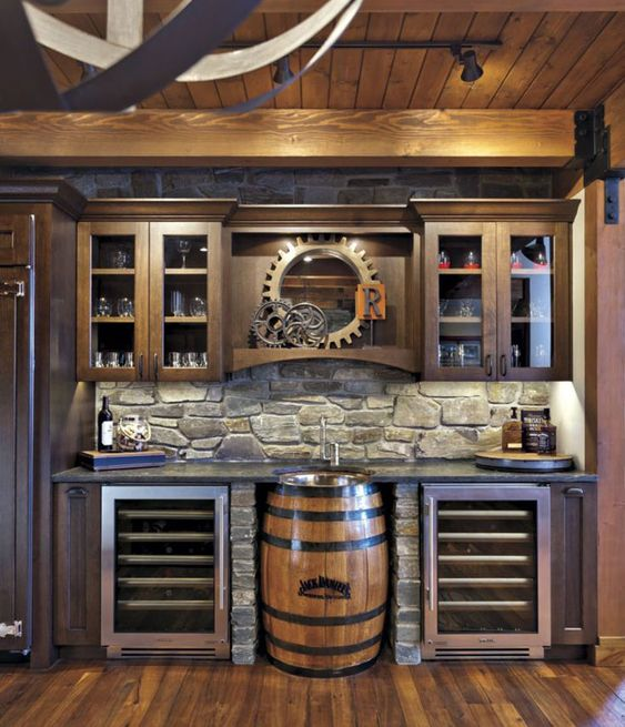 Stone Style basement bar idea