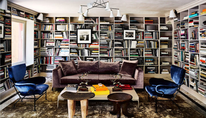 huge all-around bookshelf in Brigette Romanek's home