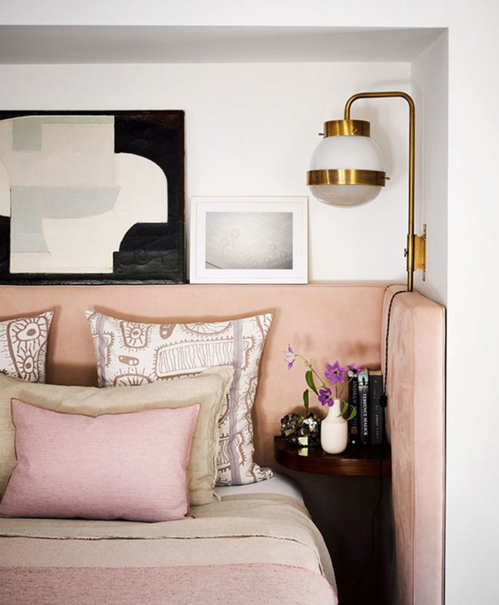 pink shades in bedroom with golden elements in Brigette Romanek's home
