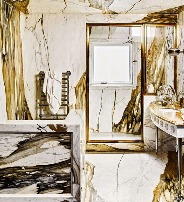 brown and white marble surface in bathrom
