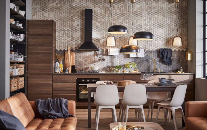 kitchen with hexagonal small tiles