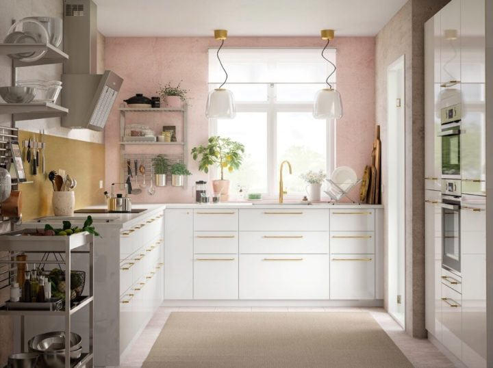 white IKEA kitchen with pink wall Without wall units