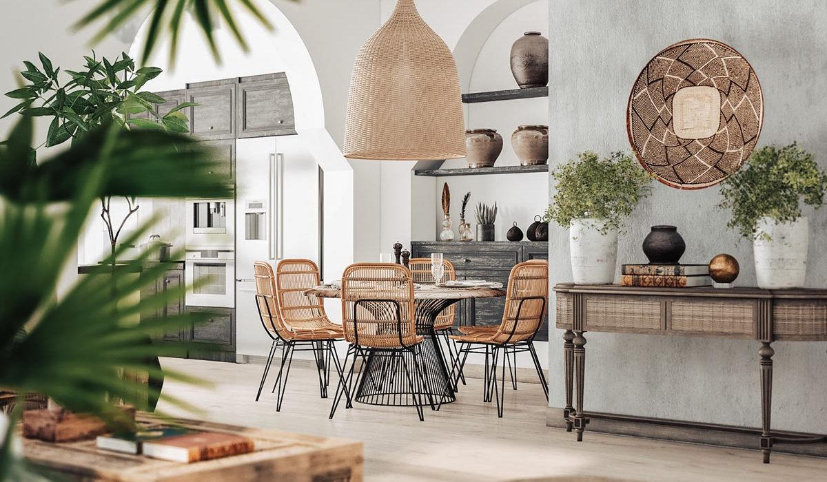 rattan and black metal round dining table set