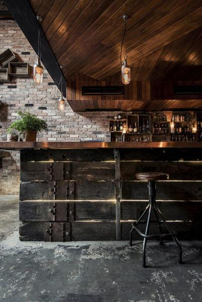 Garage Style industrial basement bar idea