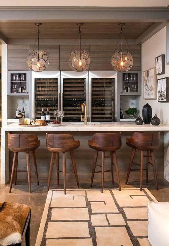 brown basement with stools and wooden furniture