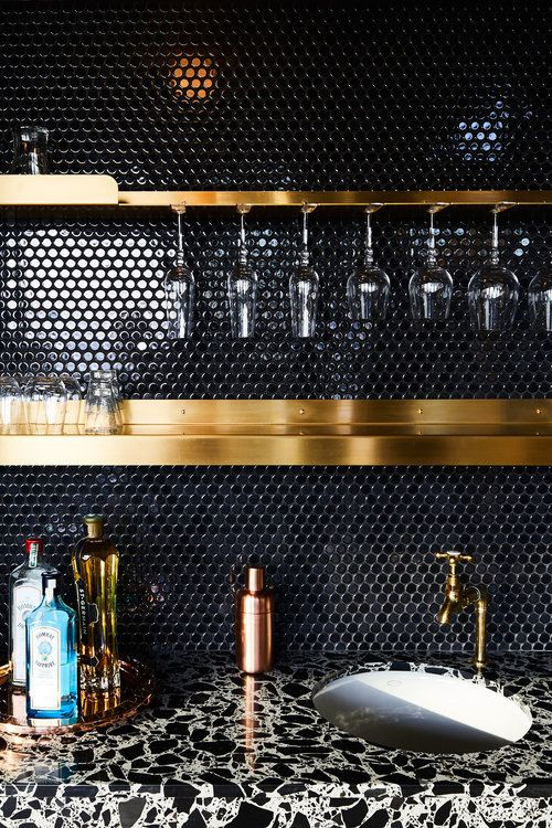 basement bar marble countertop idea