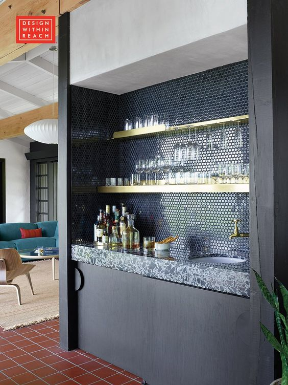 dark blue modern elegant Wet Bar
