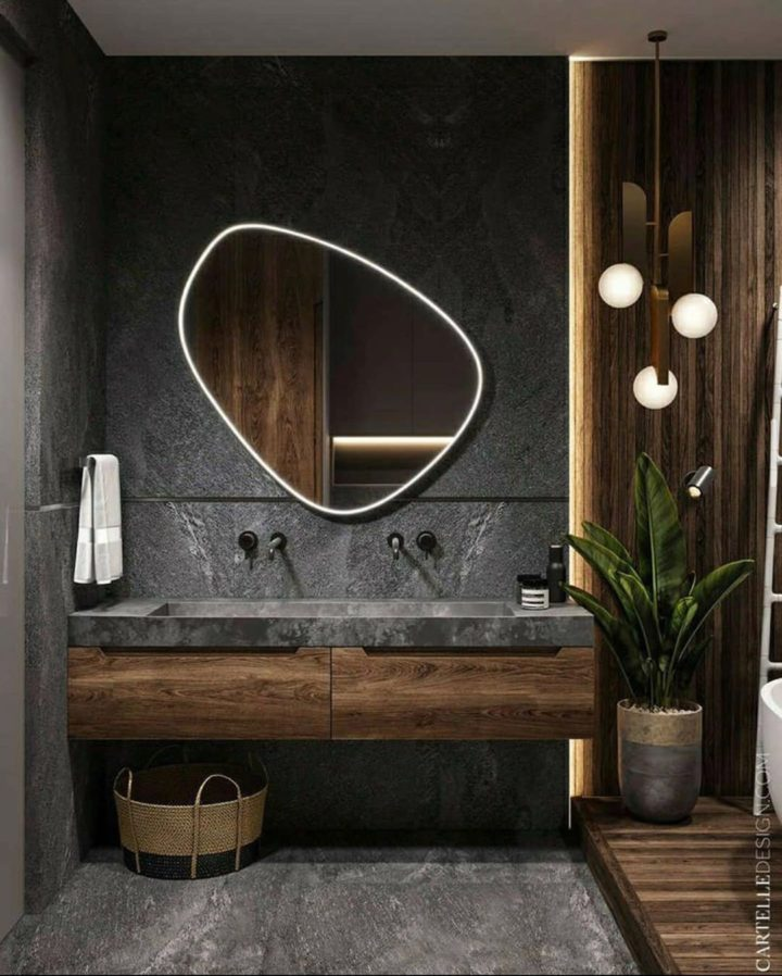 asymmetrical bathroom mirror idea